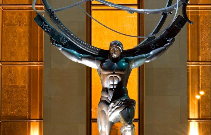 Statue of the Greek titan Atlas at Rockefeller Center, holding the heavens above his shoulders.