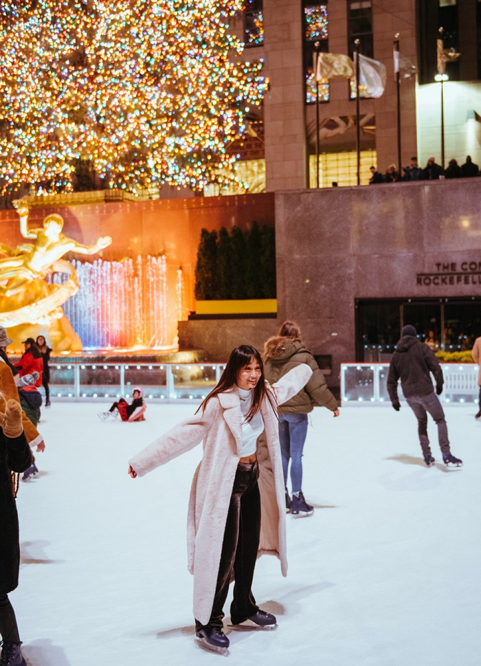 Ice skaters on the rink at Rockefeller Center
