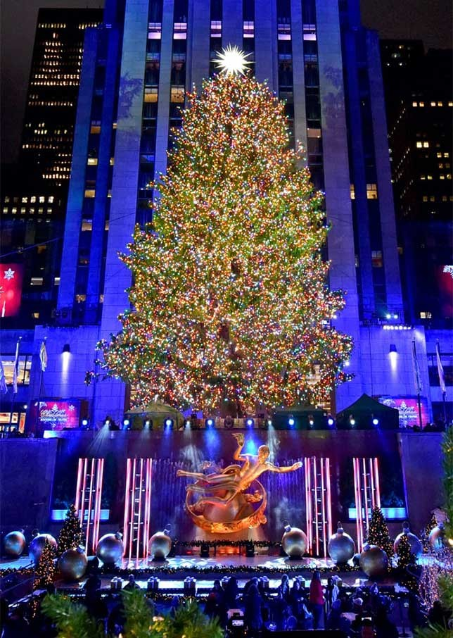The famous Rockefeller Center Christmas Tree and Prometheus scupture by The Rink.